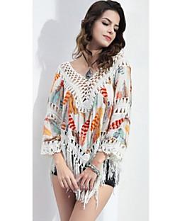 Blusa Da donna Per uscire Sensuale Per tutte le stagioni,Monocolore A V Poliestere Multicolore Manica lunga Sottile
