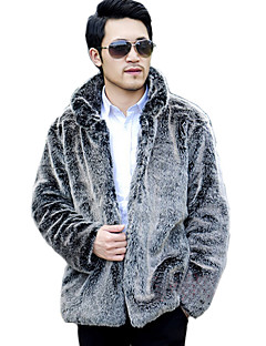 Men's Solid Casual / Plus Sizes Coat,Faux Fur Long Sleeve-Gray