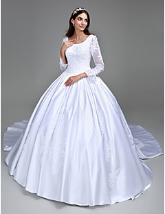 Lanting Bride Ball Gown Petite / Plus Sizes Wedding Dress-Cathedral Train Square Satin