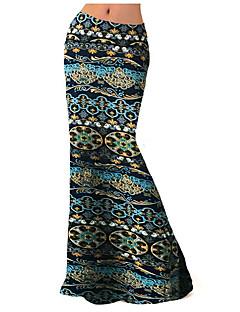 Kvinders Plusstørrelser / Boheme Maxi Nederdele Elastisk Polyester / Spandex