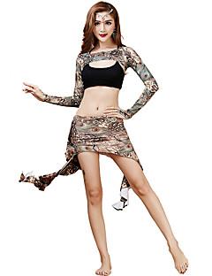 ריקוד בטן תלבושות בגדי ריקוד נשים אימון Chinlon עטוף 3 חלקים שרוול ארוך טבעי חצאית / סט חזייה ותחתונים / עליון 22cm