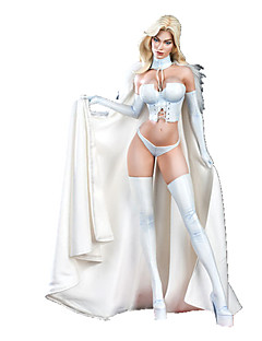 Inspired by Overwatch White Queen Anime Cosplay Costumes Cosplay Suits Solid White SleevelessCloak / Vest / Shorts / Gloves / Wings / Leg