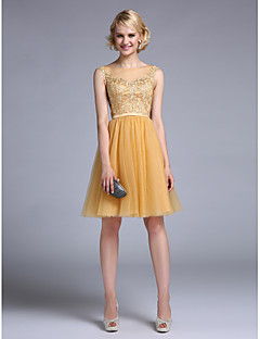 A-Line Bateau Neck Knee Length Tulle Cocktail Party Homecoming Prom Dress with Appliques Sash / Ribbon by TS Couture®