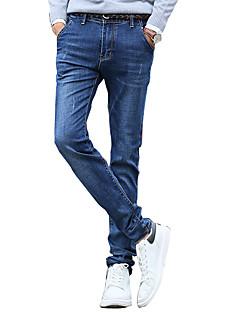 Autumn Korean mens high elastic dark blue jeans elastic slim feet long Ku Zichao