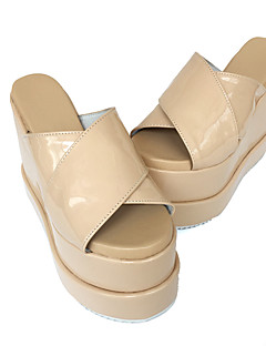 Punk Lolita 12 Cross Wedge Cream-Colored Lolita Female Shoes With Leather Slippers