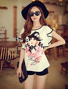 Rosa Doll® Damen Rundhalsausschnitt Kurze Ärmel Shirt & Bluse Weiß-X15BST052