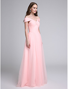 Lanting Bride® Floor-length Tulle Bridesmaid Dress A-line Off-the-shoulder with Criss Cross / Ruching