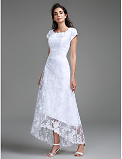 LAN TING BRIDE Sheath / Column Wedding Dress Floral Lace Asymmetrical Scoop Lace with Lace