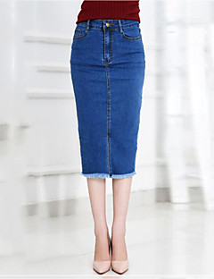 Women's Solid Blue Skirts,Sophisticated Midi