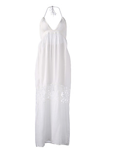 Women's Holiday Sexy / Boho Loose Dress,Solid Halter Maxi Sleeveless White Cotton / Polyester Summer