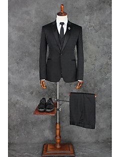 2017 Suits Tailored Fit Peak Single Breasted One-button Polyester Solid 3 Pieces Black Straight Piped