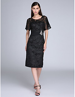 TS Couture Cocktail Party Prom Dress - Little Black Dress Sheath / Column Jewel Knee-length Lace with Crystal Detailing Lace