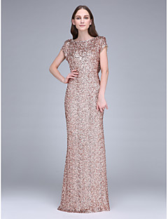 Lanting Bride®Floor-length Sequined Bridesmaid Dress Sheath / Column Bateau with Sequins