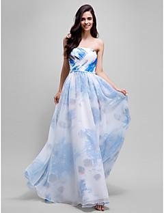 ts couture® de noite formal vestido de uma linha strapless do assoalho-comprimento de organza / cetim com cruz criss