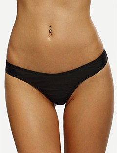 Women's Straped Bottoms,Solid Polyester Black