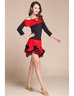 私たちはラテンダンスドレスをしなければならない女性のパフォーマンス弾性シルクのようなサテンの房(1枚)黒/赤