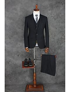 スーツ テイラーフィット ノッチドラペル シングルブレスト 一つボタン ポリエステル ギンガムチェック 3点 ブラック ストレートフラップ ワンタック ブラック ワンタック ボタン