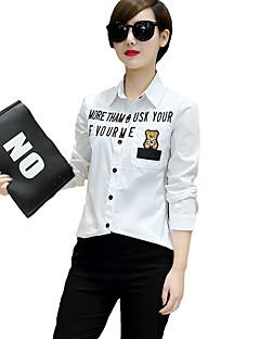 דפוס צווארון חולצה סגנון רחוב ליציאה / יום יומי\קז'ואל חולצה נשים,כל העונות שרוול ארוך לבן דק כותנה