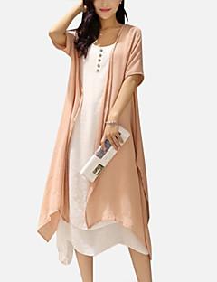 Mulheres Vestido Solto Vintage / Simples Sólido Médio Decote Redondo Linho / Poliéster