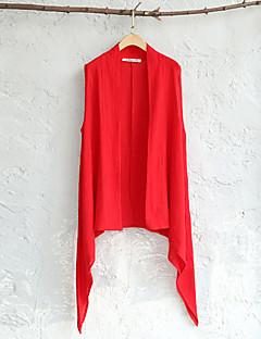 Damen Solide Einfach / Street Schick Lässig/Alltäglich Blazer,Halter Sommer Ärmellos Rot / Weiß / Schwarz Kunstseide Transparent