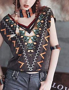 MiZhenWomen's Print Black T-shirt,Round Neck Short Sleeve