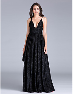 2017 ts alta costura tiras formais bainha de vestido de noite / espaguete coluna de poliéster andar de comprimento com Sash / Fita / babados