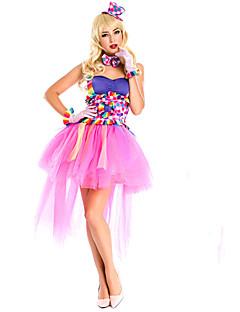 Cosplay Costumes Burlesque/Clown Movie Cosplay Pink Patchwork Dress / Headpiece / Cravat / Gloves Halloween / Christmas / New Year Female