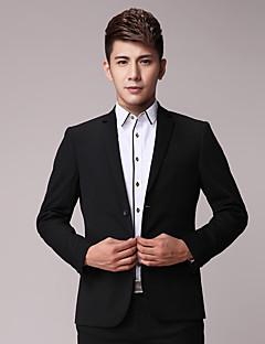Obleky Slim Otevřené Jednořadové se dvěma knoflíky Polyester Proužky 2 ks Rovné s klopou Dvojitý (Dva) Černá Dvojitý (Dva)