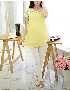 Maternity Round Neck Ruffle Shirt,Polyester Short Sleeve