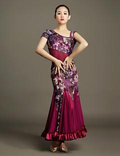 Ballroom Dance Outfits Women's Training Tulle / Velvet Pattern/Print / Ruffles 2 Pieces Green / Purple