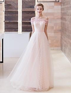 포멀 이브닝 드레스 A-라인 오프 더 숄더 스윕 / 브러쉬 트레인 레이스 / 튤 와 아플리케