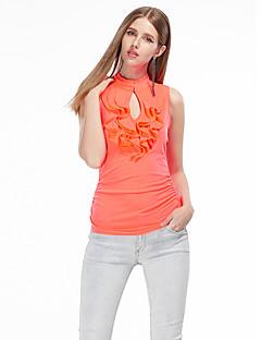 Uden ærmer Skulderfri Tynd Dame Hvid Orange Ensfarvet Sommer Simpel I-byen-tøj T-shirt,Polyester Spandex