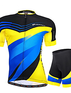 Nuckily Cycling Jersey with Shorts Men's Short Sleeve Bike Breathable Ultraviolet Resistant Reflective Strips Back PocketJersey + Shorts