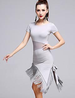 ריקוד לטיני שמלות בגדי ריקוד נשים ביצועים טול מילק פייבר גדיל (ים) 2 חלקים שרוול קצר טבעי שמלות שורטיםM:75-106 L:76-107 XL:77-108
