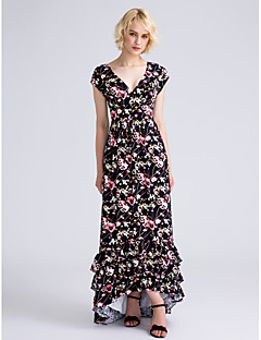 LAN TING BRIDE Asymmetrical V-neck Bridesmaid Dress - Pattern Dress Short Sleeve Chiffon