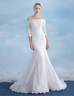 Mermaid / Trumpet Off-the-shoulder Court Train Lace Sequined Wedding Dress with Beading Appliques