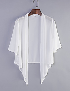 Women's Casual/Daily Street chic Summer Wrap,Solid Shirt Collar Short Sleeve White / Black Cotton / Polyester Medium