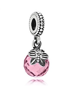 DIY Jewelry 925 Silver Pink Zircon Charm