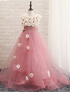 A-line Floor-length Flower Girl Dress - Tulle Sleeveless Jewel with Flower(s)