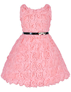 New Fashion Red Rose Flower Kids Girls Evening Party/Wedding/ Dress with Belt Apart Princess Vestido Meninas for 2~6Yrs