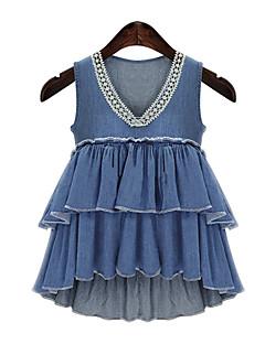 Uden ærmer V-hals Tynd Kvinders Blå Ensfarvet Sommer Simpel / Sødt I-byen-tøj Bluse,Bomuld / Polyester