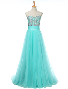 Prom Formal Evening Dress - Sparkle & Shine A-line Sweetheart Floor-length Tulle with Beading