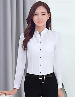 Damen Solide Einfach Lässig/Alltäglich / Arbeit Hemd,Ständer Herbst Langarm Blau / Weiß Polyester Mittel
