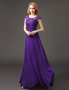 Floor-length Chiffon Bridesmaid Dress A-line Scoop with Appliques