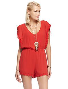 heartsoul Frauen solide roten Overalls, einfache V-Ausschnitt Kurzarm