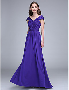 2017 Lanting Bride® Floor-length Jersey Bridesmaid Dress - Sheath / Column Off-the-shoulder with Criss Cross