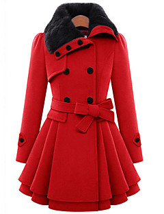 Women's Casual/Daily Cute Coat,Solid Shirt Collar Long Sleeve Winter Red / Brown Wool / Cotton Thick