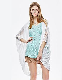 1/2 ærmelængde Rund hals Tynd Kvinders Hvid Ensfarvet Sommer Simpel I-byen-tøj Cloak / Capes,Bomuld / Spandex