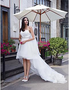 LAN TING BRIDE Corte en A Vestido de novia Vestidos Blancos Asimétrica Corazón Organza con Cristal