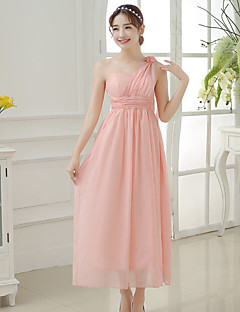 Tea-length Chiffon / Polyester Bridesmaid Dress A-line One Shoulder with Flower(s)